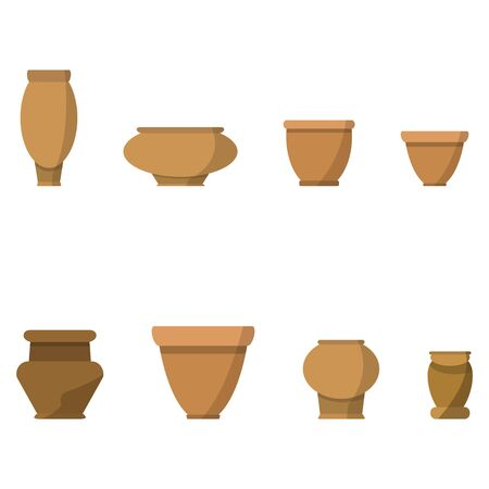 Vector set of flat isolated orange color flower pot on white background. For cartoon decpration or gamedev props