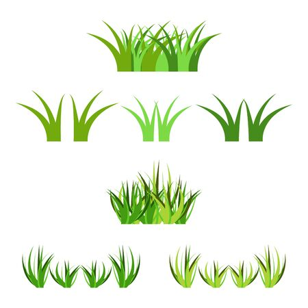 Set of vector green grass horisontal bunches, isolated on white. Cartoon props decoration, variety of vector grass green and light green colors. 向量圖像