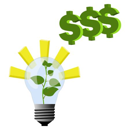 Plant grow inside the lamp - light and inspirations for business idea to make money and growing to top/ Vector illustration for business and money make ideas. 向量圖像
