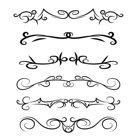 Calligraphic hand drawn Design Elements. Swirl lines And Borders. Vector illustration Çizim