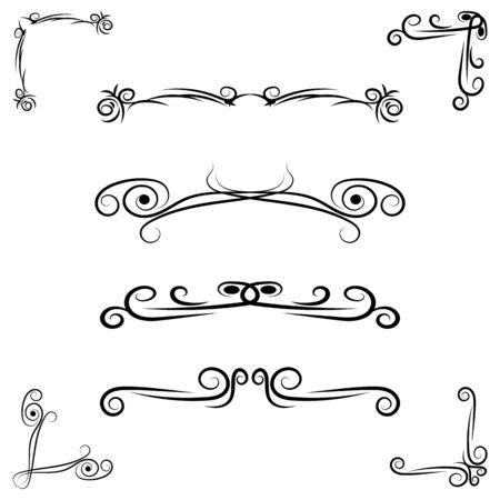 Hand drawn flourishes swirls, page dividers, border decor design elements ina vintage style