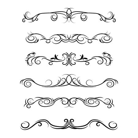 Hand drawn vector dividers. Decorative swirls lines, borders and curl set. Design elements 4