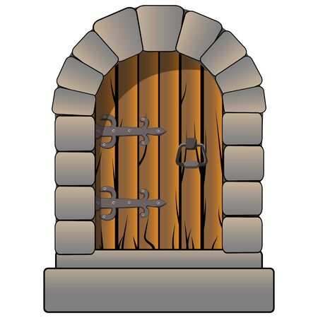Castle door medieval vector cartoon style isolated on white. Vintage antique door