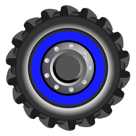 Vector tractor tire. Blue wheel of farmer tractor isolated oh whire background. Cartoon props and illustration for part of tractor.