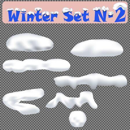 Snow caps, snowballs and snowdrifts set. Winter set N-2. Vector illustration for winter season