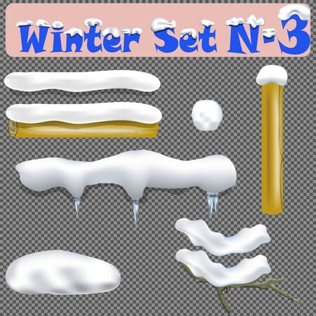 Snow Drift Vector. Icicles, Snowdrift. New Year Winter Ice Texture Element. Realistic Snow Caps. Isolated On Transparent Background Illustration