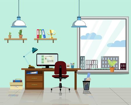 Office workplace with table, bookcase, window with house plant. Modern computer, table shelves, lamp and all office table staff for work. Flat vector illustration for cartoon, explained video and office interior decor Illusztráció