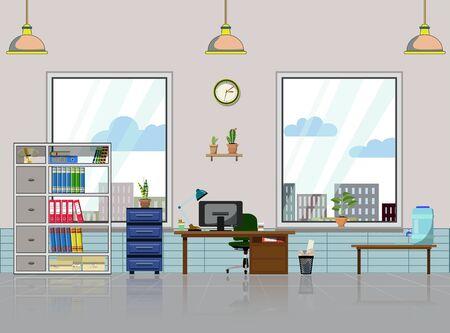 Posto di lavoro in ufficio con tavolo, libreria, finestre con pianta da appartamento. Computer moderno, mensole da tavolo, lampada, contenitore dell'acqua e tutto il personale del tavolo dell'ufficio per il lavoro. Illustrazione vettoriale piatta per oggetti di scena di cartoni animati e animazione