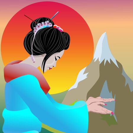 Geisha pointing and inviting Welcome to Japan. Vector illustration poster geisha and nature Japan background