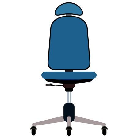 Blue office chair with headrest vector illustration. Furniture with rolls and all equipment tor it. Object isolated on white