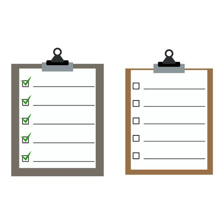 Two checklist one with marked checkbox other not marked flat vector illustration isolated on white. Office and business accessories