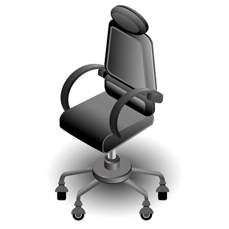 Realistic vector 3d isometric office modern computer black color chair Illustration