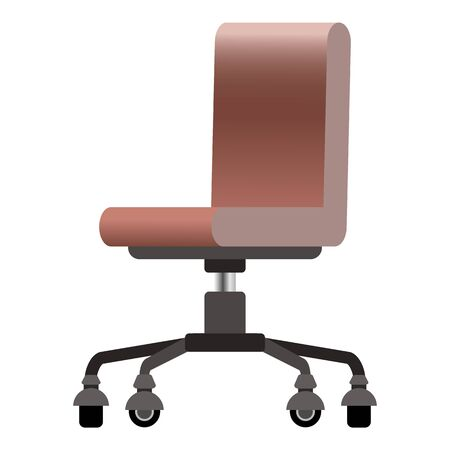 Trendy vector isometric office modern computer chair in a flat cartoon style with realistic light brown color leather shades. Office accesories interior decor isolated on white Illustration