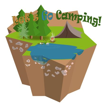 Lets go camping and fishing vector illustration. 3D isometric island. Composition of summer forest place and tent close to attractive lake with fish inside, beatifull water lily and bush of reeds.