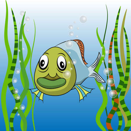 Cute cartoon tropical fish vector illustration with seaweeds and bubbles of air.