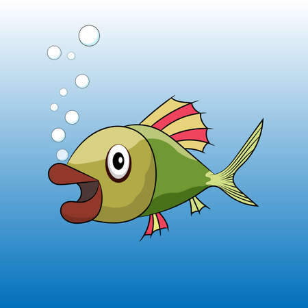 Cute bright colorful cartoon tropical fish vector illustration with bubbles of air.
