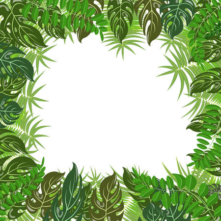 Trendy tropical leaves nature vector poster background