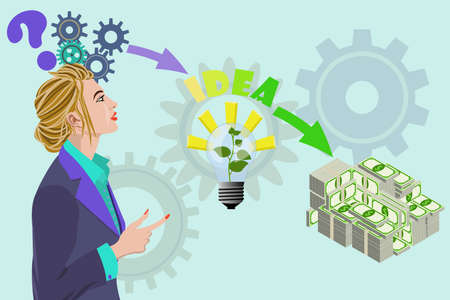 Business woman thinking about money idea vector illustration. Business money concept with gears and gears above her head, arrow lamp idea and finally lot of money big packs isolated on light green.