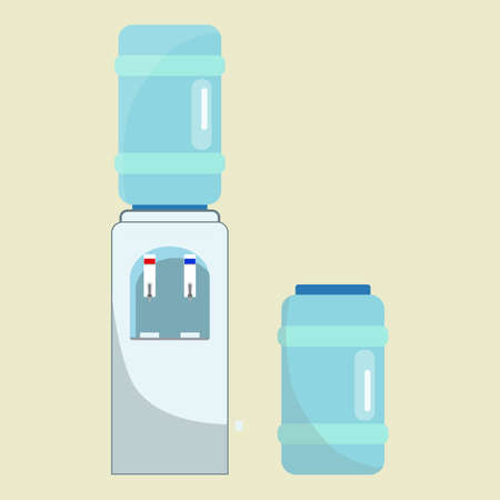 Vector office water cooler with one bottle on the top of it, and another on the side. Isolated on light yellow background