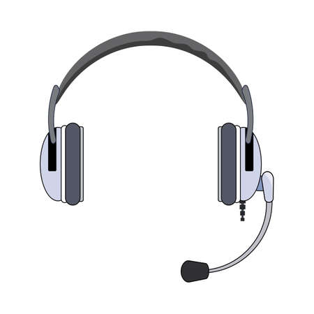 Classic headphones with microphone. Vector eps10 illustration headset with microphone. Isolated on white background Ilustração Vetorial