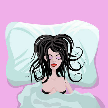 Young beautiful girl or woman sleeping alone in big bed completely satisfied and happy, with a disheveled hairstyle. Vector illustration top view, blue and pink toned.