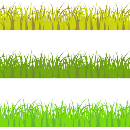 Vector set of 3 vary colors seamless pattern grass. Light green, dark green, and yellow savan style color grass props decor. Ilustración de vector