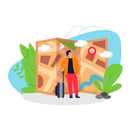 traveling man see the location on the map flat illustration concept design