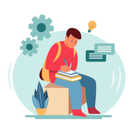 a man writes the idea he gets while thinking on paper flat illustration concept design