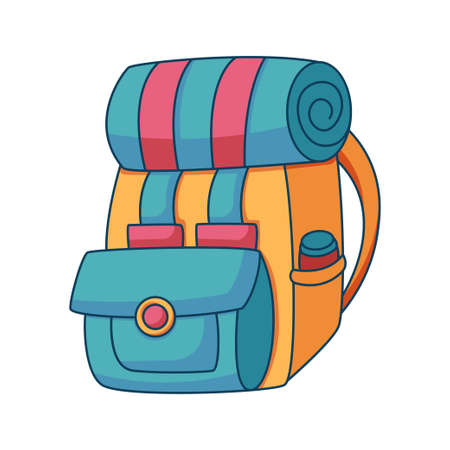 backpack cartoon doodle hand drawn concept design vector art kawaii illustration