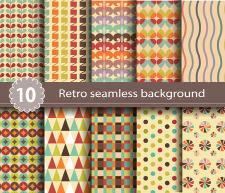 10 retro seamless background, pattern swatches included for illustrator user