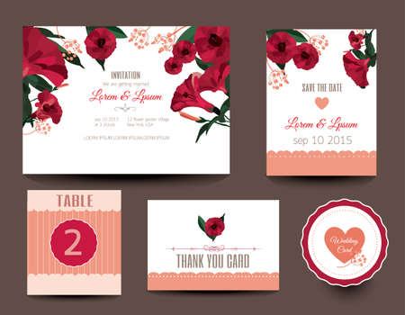 Set of wedding cards. Wedding invitations