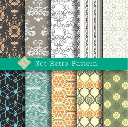 10 patrones retro sin fisuras, muestras de motivos incluidos para usuario ilustrador Foto de archivo - 36999720