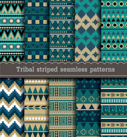 Tribal striped seamless patterns, pattern swatches included for illustrator user
