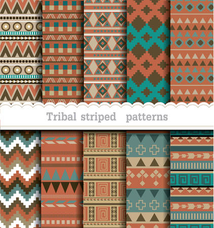 Tribal striped seamless patterns, pattern swatches included for illustrator user Фото со стока - 36999722