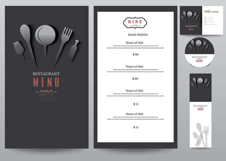 logotipos de restaurantes: Menú de restaurante diseño Set.vector Ilustración