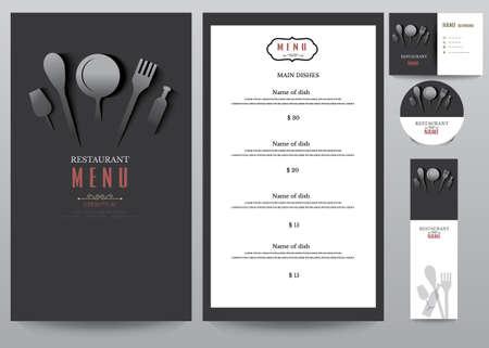 ristorante: Ristorante Menu Design set.Vector Illustrazione