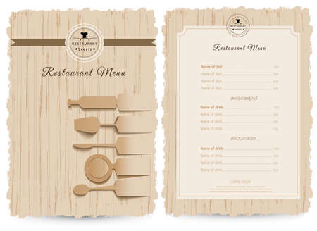 menu: Vintage style restaurant menu design design on wood background