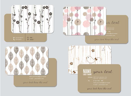 business card template,  wedding style, vector illustration Çizim