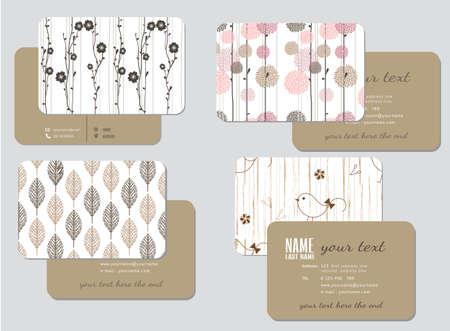 business card template,  wedding style, vector illustration Vettoriali