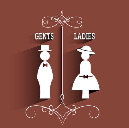 gentlemen: lady and gentleman sign with long shadow.vector