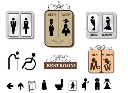 retro man: Toilet sign vector set Illustration