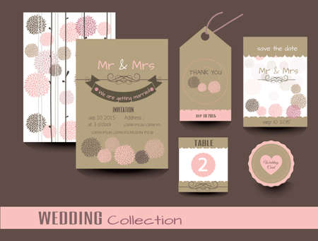 Set of wedding cards. Wedding invitations, Thank you card, Save the date card, Table card