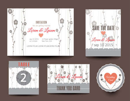 wedding table decor: Set of wedding cards. Wedding invitations, Thank you card, Save the date card, Table card