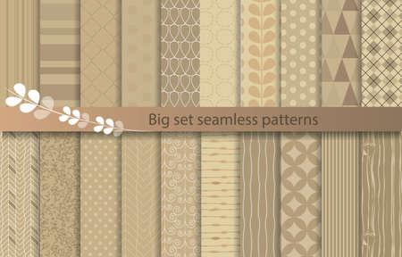 Big set seamless patterns, kraft style de papier, des échantillons de modèle inclus pour l'utilisateur de l'illustrateur, des échantillons de modèle inclus dans le fichier, pour votre usage commode. Banque d'images - 43250674