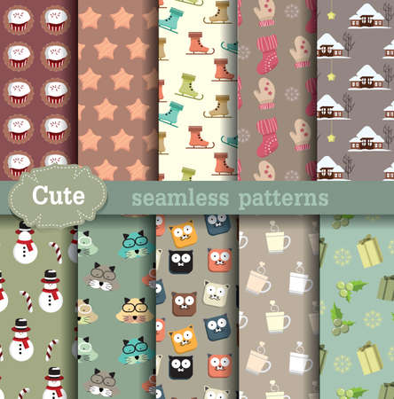 cute seamless patterns. Pattern swatches included for illustrator user, pattern swatches included in file, for your convenient use.