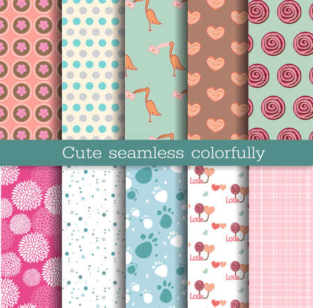scrap: cute seamless patterns.Pattern swatches included for illustrator user, pattern swatches included in file, for your convenient use.