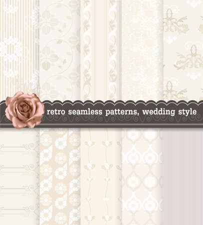convenient: retro seamless patterns wedding style. Pattern swatches included for illustrator user, pattern swatches included in file, for your convenient use.