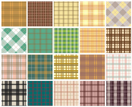 table decor: Plaid seamless patterns.Patterns swatches included for illustrator user
