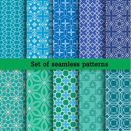 Geometric Seamless Patterns. Pattern swatches included for illustrator user, pattern swatches included in file, for your convenient use. Vectores