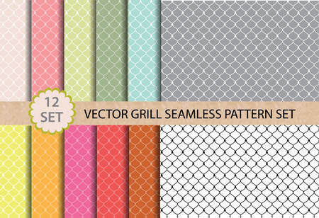 grill pattern: 12 set Vector Grill Seamless Pattern. Pattern swatches included for illustrator user, pattern swatches included in file, for your convenient use.